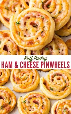 Easy Ham and Cheese Pinwheels with Puff Pastry. Just FOUR ingredients! Everyone loves these simple and delicious puff pastry appetizers. Easy to make ahead, delish, and perfect for holiday parties too! #wellplated #puffpastry #easy via @wellplated