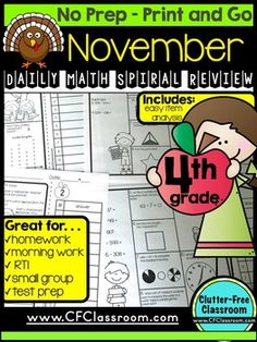 4th GRADE Homework Morning Work for MATH - NOVEMBER NO PREP - 50+ pages - Easy way to consistently review 4th grade math skills! Highly effective and useful! Perfect spiral review packet! $