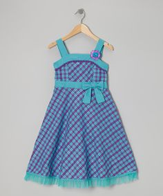 Take a look at this Teal & Purple Diagonal Gingham Dress - Girls on zulily today!
