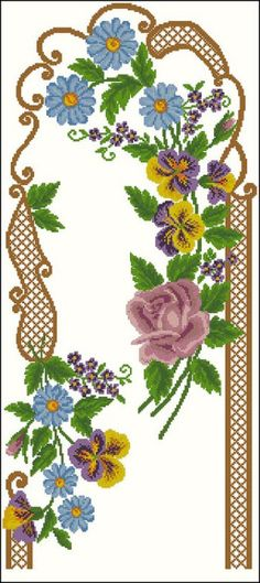 This Pin was discovered by Yağ Cross Stitch Bird, Cross Stitch Flowers, Cross Stitch Embroidery, Crochet Flowers, Machine Embroidery Designs, Flower Designs, Needlepoint, Cross Stitch Patterns, Needlework
