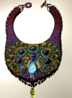Dreaming of a Peacock - Bead Embroidered Statement Necklace, Beaded Bib Necklace, Purple Collar Beaded Necklac