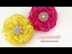 Flor Elegante de Fita de Cetim - YouTube