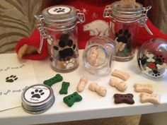 Cute dog treats for American Girl doll, via Etsy. - love the decorated jars.