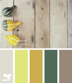 Light taupe, light yellow, mustard, dark sage green, taupe.