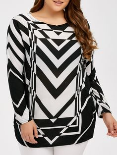 Zigzag Plus Size Pullover Sweater in White And Black | Sammydress.com