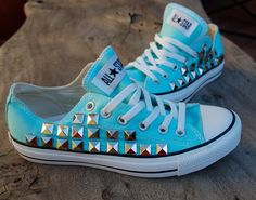 cheap converse all star shoes Tiffany Blue Converse, Baby Blue Converse, Studded Converse, Converse Low Tops, Vans Sneakers, Converse Shoes, Shoes Heels, Cheap Converse, Converse Trainers