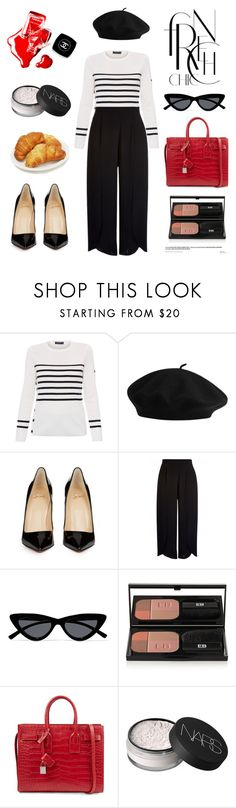 """Untitled #695"" by tenindvr ❤ liked on Polyvore featuring Saint James, Christian Louboutin, Le Specs, Edward Bess, Yves Saint Laurent, NARS Cosmetics and Chanel"