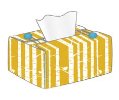 DIY The tissue box cover is essentially a single flat shape which folds up the sides of your tissue box, and is fastened at the top.