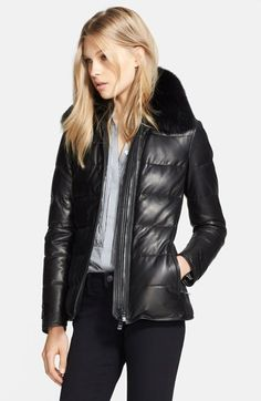 Burberry London 'Redbury' Leather Puffer Jacket with Removable Genuine Fox Fur Collar