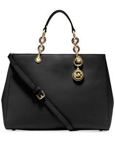 MICHAEL Michael Kors Cynthia Large Satchel Saffiano Leather Black Chain Shoulder Strap Handbag Designer Fashion