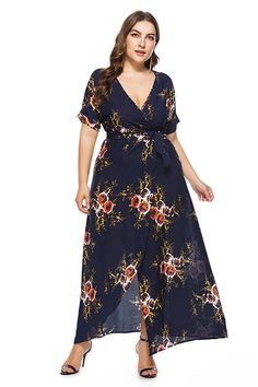 9e25aa5d3cc1f Barbara Floral Print Maxi Plus Big Size Dress