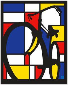 Mondrian Dutch Bicycle poster Illustration door ArtBySassanFilsoof