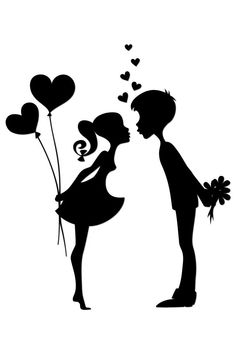 Silhouette of a couple in love Royalty Free Stock Vector Art . Vector Preto E Branco Love, couple, black and white Silhouette or cricut things I am working on. Silhouette of two people with red hearts Young love on entines Day! Couple Silhouette, Silhouette Design, Wedding Silhouette, Silhouette Clip Art, Couples In Love, Vector Art, Paper Art, Illustration, Art Drawings