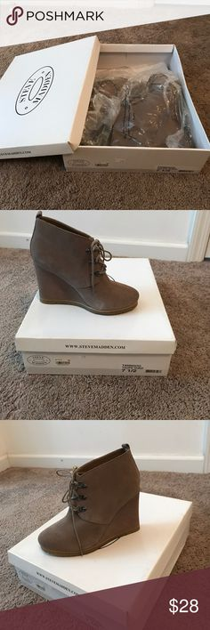 Steve Madden Only wore once. Taupe Sued. Brand new condition. Steve Madden Shoes Wedges