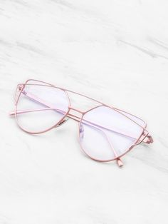 923e23f2c SheIn - SheIn Top Bar Flat Lens Glasses - AdoreWe.com Maquiagem Para Óculos,