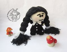 Pebble doll WEDNESDAY ADDAMS  knitting pattern by simplytoys13