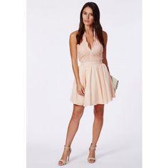 5ba34c4250 Nurit Halterneck Lace Detail Puffball Mini Dress - Dresses - Party Dresses  - Missguided Online Dress