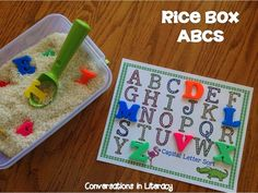 Fun way for students to practice their ABCs!! Rice Box ABC$ center activities- lot of activities!