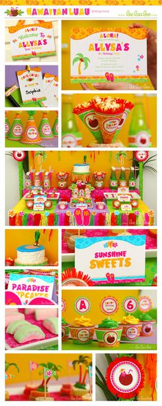 Hawaiian Luau Birthday Party Package Collection Set Mega Personalized Printable Design by leelaaloo.com || #hawaiian #luau #colorful #rainbow #girl #summer #flower #diy #birthday #party #theme #Leelaaloo