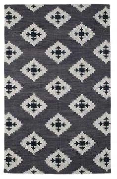 Love the pattern...Black Dhurrie rug
