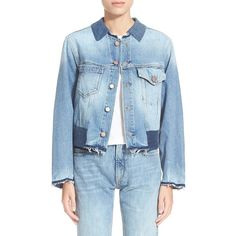 Aries Contrast Trim Denim Jacket (4 715 SEK) ❤ liked on Polyvore featuring outerwear, jackets, denim, blue jackets, blue denim jacket, blue jean jacket, patched jean jacket and patch jacket
