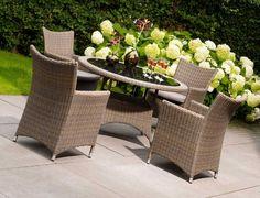 Life Gartenmöbel Corona Teak Tisch mit Rattan Stühlen