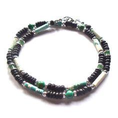 Semi Precious Gemstone Necklace Mens Jewelry Beaded by Dragonpop, $26.50