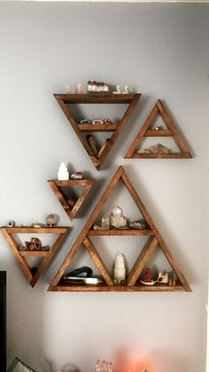 Triangle shelf crystals wall display from ReCircle Home in Long Beach Triangle shelf crystals wall display from ReCircle Home in Long Beach Click The Link For See