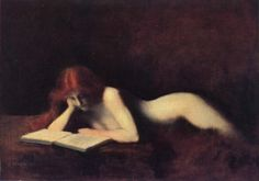 room42:   The Reader by Jean-Jacques Henner.  Painting redheads and nudes with red hair would become his calling card, and gained him great notoriety in his time. (Image Courtesy…)