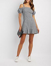 Multi Gingham Cold Shoulder Dress