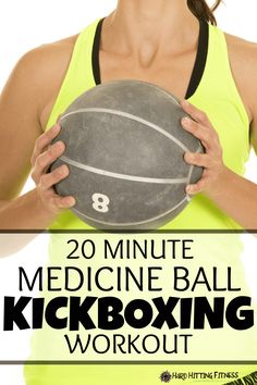 Great way to use the medicine ball in this kickboxing workout to help you keep your arms up! Works your legs, core and upper body. Nice!