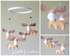 Baby Mobile  Moose Mobile   Custom Mobile  Baby by LoveFeltXoXo, $88.00