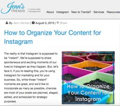 Jenn's Trends - How to Organize Your Content for Instagram