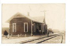 1910 EAU CLARE MICHIGAN RAILROAD DEPOT rppc Real Photo Postcard
