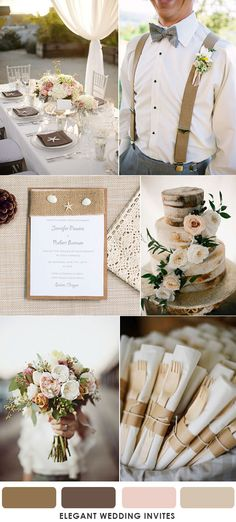 romantic earthy brown and blush wedding color palettes