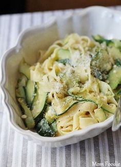 Zucchini Ribbons and Pappardelle with Garlic Cannellini Bean Sauce