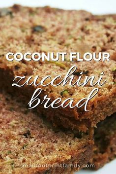 Coconut Flour Zucchini Bread Here's a delicious, gluten-free, GAPS and Paleo-friendly way to enjoy the zucchini bounty. This coconut flour zucchini bread recipe also freezes well! Paleo Baking, Gluten Free Baking, Gluten Free Recipes, Low Carb Recipes, Whole Food Recipes, Gluten Free Ciabatta Recipe, Dinner Recipes, Gluten Free Breads, Bread Recipes