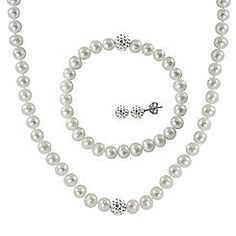 Sterling Silver 3 Piece White Freshwater Pearl & Crystal Bead Necklace  Bracelet and Earring Set