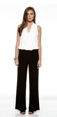 Love Black and White! Love the Draping! #Black_and_White #Contrast #Color #Jumpsuit #Holiday #Fashion