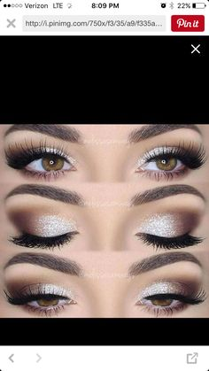 wedding makeup glitter Hochzeit Make-up Glitter Brides 33 Ideen Prom Eye Makeup, Wedding Eye Makeup, Hazel Eye Makeup, Wedding Makeup For Brown Eyes, Prom Makeup Looks, Homecoming Makeup, Eyeshadow Makeup, Hair Makeup, Bride Eye Makeup