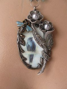 Song of the Magpie ... repurposed vintage sterling silver marcasite pearl bird collage necklace