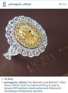 Prima Gems Siam Paragon: 1.90ct Fancy Yellow oval diamond ring