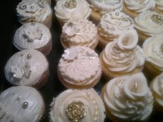 Ivory and gold fancy cupcakes