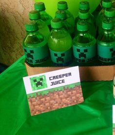 minecraft creeper juice tent sign and other minecraft party ideas #minecraft