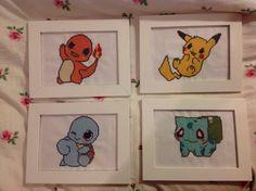 Baby Chibi Squirtle Charmander Pikachu Bulbasaur Cross Stitch Pixel Art Pokemon with Frame