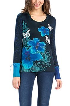 Desigual Veriona - T-shirt - Imprimé - Col rond - Manches longues - Femme - Bleu (Navy) - FR: 36 (Taille fabricant: XS) Desigual http://www.amazon.fr/dp/B00VMAQKII/ref=cm_sw_r_pi_dp_Ira8vb0V2GXXJ