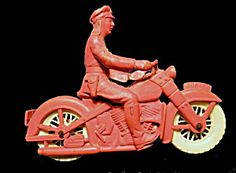 1950's Auburn Police Motorcycle Plastic-rubber Toy