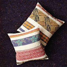 Kantha Jaipur Stripe Pillow Cover #WestElm. Good way to use up fabric scraps