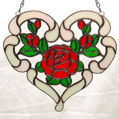 Rose of my heart iridescent stained glass suncatcher Gift for Stained Glass Suncatchers, Stained Glass Crafts, Faux Stained Glass, Stained Glass Windows, Stained Glass Quilt, Stained Glass Flowers, Stained Glass Patterns, Tiffany Glass, Glass Wall Art