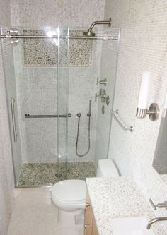 This Merola Perla Bone Mosaic tile turned out beautifully in this small bathroom! #tile